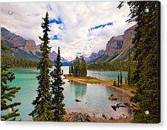 Spirit Island View Alberta Canada Acrylic Print by George Oze