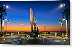 Spirit Of Imperial Beach Surfer Sculpture Acrylic Print