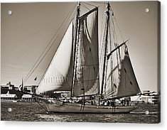 Spirit Of South Carolina Schooner Sailboat Sepia Toned Acrylic Print