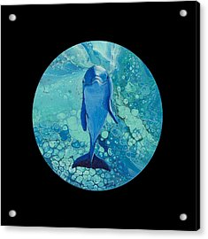 Acrylic Print featuring the painting Spirit Of The Ocean On Black by Darice Machel McGuire
