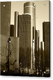 Spirit Of The Ren Cen Acrylic Print by Sheryl Burns
