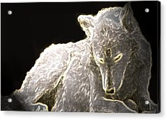 Acrylic Print featuring the mixed media Spirit Wolf by Debra     Vatalaro