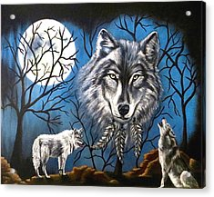 Acrylic Print featuring the painting Spirit Wolf by Teresa Wing