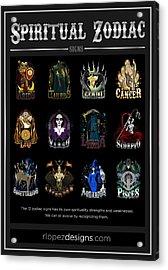 Acrylic Print featuring the digital art Spiritual Zodiac Signs by Raphael Lopez
