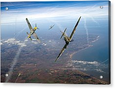 Spitfire And Bf 109 In Battle Of Britain Duel  Acrylic Print by Gary Eason