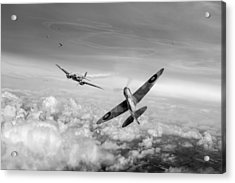 Acrylic Print featuring the photograph Spitfire Attacking Heinkel Bomber Black And White Version by Gary Eason