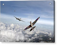 Acrylic Print featuring the photograph Spitfire Attacking Heinkel Bomber by Gary Eason