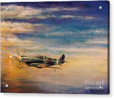 Spitfire In Flight Acrylic Print by Liam O Conaire