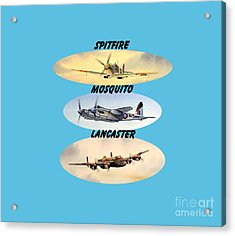 Acrylic Print featuring the painting Spitfire Mosquito Lancaster Aircraft With Name Banners by Bill Holkham