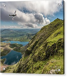 Spitfire Over Snowdon Acrylic Print by Adrian Evans