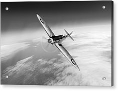 Spitfire Pr Xix Ps852 Black And White Version Acrylic Print by Gary Eason