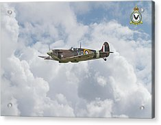 Acrylic Print featuring the digital art  Spitfire - Us Eagle Squadron by Pat Speirs