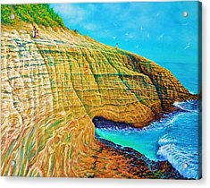 Spitting Caves Of Portlock Point Acrylic Print
