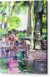 Splash In Battery Park Acrylic Print