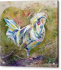 Acrylic Print featuring the painting Splash White Polish Chicken by Christy  Freeman