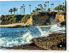 Splashing Waves And Nice Beach Acrylic Print