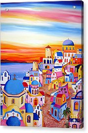 Splendid Santorini Sunset My Way Acrylic Print