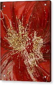 Splishy Splashy Red And Gold Acrylic Print by Anne-Elizabeth Whiteway