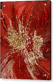 Splishy Splashy Red And Gold Acrylic Print by Anne-Elizabeth Whiteway