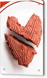 Split Hearts Chocolate Fudge On White Plate Acrylic Print by Jorgo Photography - Wall Art Gallery