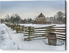 Split Rail Fence In Front Of Colonial Williamsburg Magazine Acrylic Print