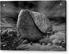Acrylic Print featuring the photograph Split Rock In Black And White At Joshua Tree National Park by Randall Nyhof