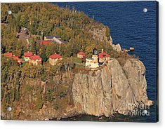 Split Rock Lighthouse Fall Aerial View Acrylic Print by Tammy Wolfe