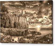 Split Rock Lighthouse Sepia Acrylic Print