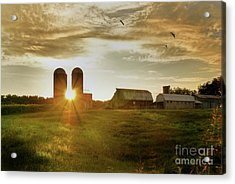 Split Silo Sunset Acrylic Print
