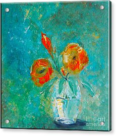 Palette Knife Floral Acrylic Print by Lisa Kaiser