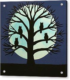Spooky Owl Tree Acrylic Print