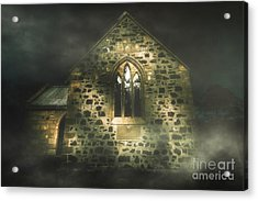 Spooky Stone Church In A Haunted Winters Night Acrylic Print by Jorgo Photography - Wall Art Gallery