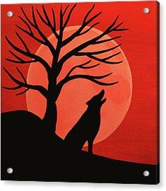 Spooky Wolf Tree Acrylic Print