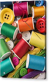 Spools Of Thread With Buttons Acrylic Print