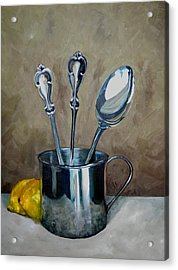 Spoons Lemons And A Baby Cup Acrylic Print by Amy Higgins