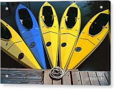 sports boat photography - Yellow Kayaks Acrylic Print