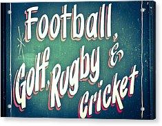 Sports Acrylic Print by Tom Gowanlock