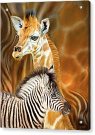 Acrylic Print featuring the mixed media Spots And Stripes - Giraffe And Zebra by Carol Cavalaris