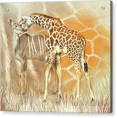 Acrylic Print featuring the mixed media Spots And Stripes - Giraffe - Antelope by Carol Cavalaris