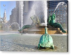 Acrylic Print featuring the photograph Spraying Water At Swann Fountain - Philadelphia by Bill Cannon