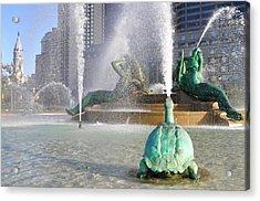 Spraying Water At Swann Fountain - Philadelphia Acrylic Print