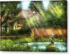 Spring - Garden - The Pool Of Hopes Acrylic Print by Mike Savad