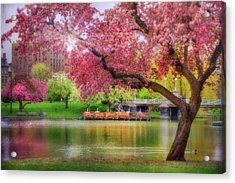 Acrylic Print featuring the photograph Spring Afternoon In The Boston Public Garden - Boston Swan Boats by Joann Vitali