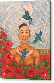 Spring Amazed By The Hummingbirds Acrylic Print by Kent Chua