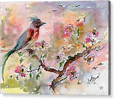 Spring Bird Fantasy Watercolor  Acrylic Print