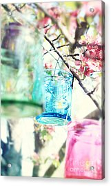 Spring Blossoms And Candles Acrylic Print