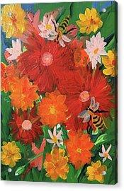 Spring Bumble Bees Acrylic Print