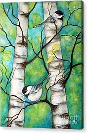 Spring Chickadees Acrylic Print
