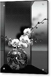 Spring Creation In Black And White Acrylic Print