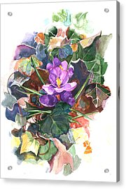 Acrylic Print featuring the painting Spring Crocus by Nancy Watson